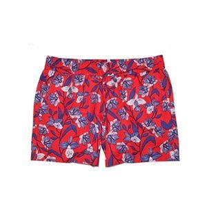 J.Crew Factory Red Floral Linen Blend Shorts
